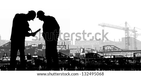 silhouettes on a background of working factories - stock photo