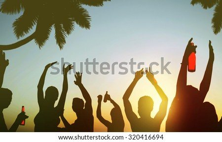 Silhouettes People Celebrating Drinking on a Beach Concept - stock photo
