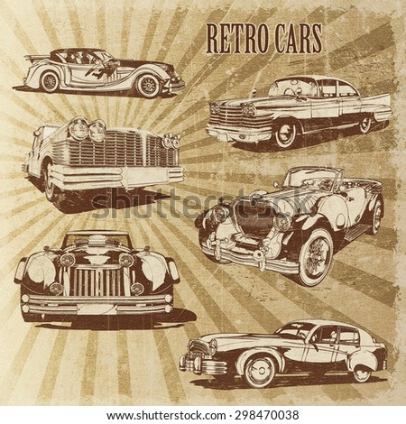 Silhouettes retro cars.  - stock photo