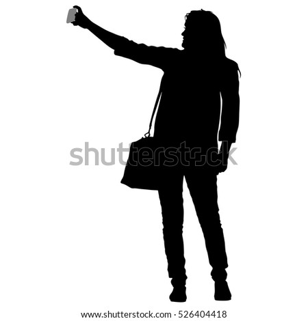 Silhouettes woman taking selfie with smartphone on white background. illustration.