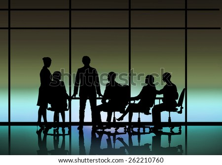 Silhouttes of business people as team sitting round table - stock photo