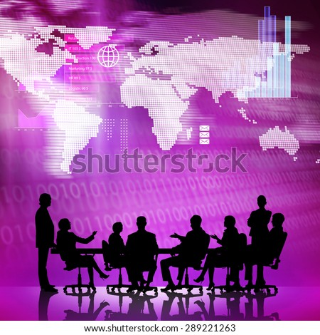 Silhouttes of business people as team sitting round table at digital background