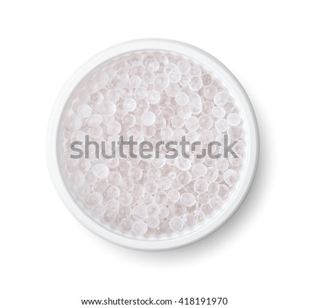 Silica gel pellets isolated on white - stock photo