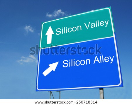 SILICON VALLEY-SILICON ALLEY road sign - stock photo