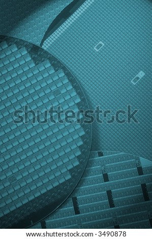 Silicon wafers with chips