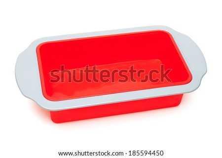 silicone baking mould on a white background - stock photo