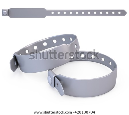 Silicone blank bracelet isolated on white - 3d render - stock photo