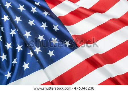 silk American flag Close-up background