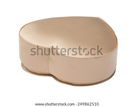 Silk box in the form of heart, gold, isolated on the white - stock photo