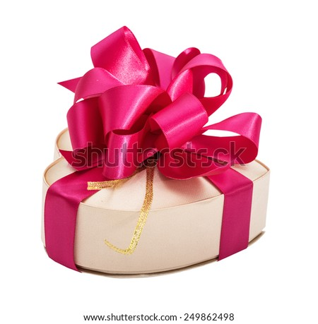 Silk box in the form of heart, with a bright lilac volume bow, isolated on the white - stock photo