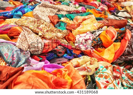 Silk colorful scarves at street market