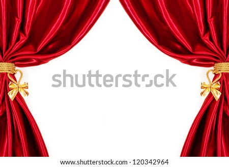Silk curtains. isolated on white background - stock photo