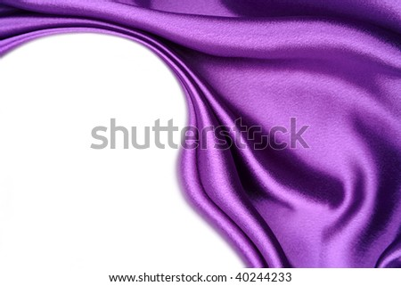 Silk fabric on white background. Copy space - stock photo