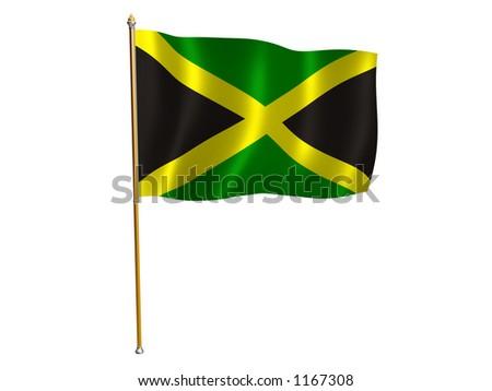 Silk flag of Jamaica - stock photo