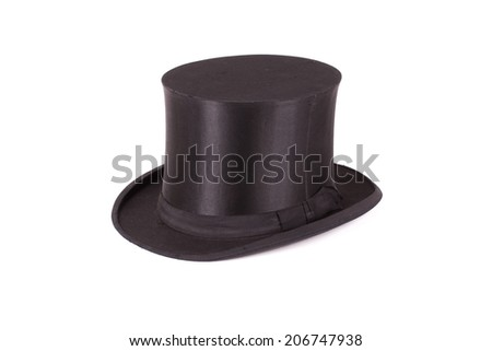 Silk hat on a white background - stock photo