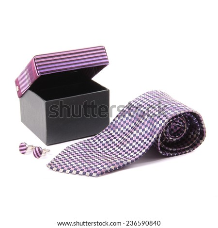 Silk necktie and cufflinks in box set - stock photo