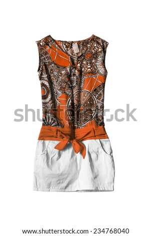 Silk orange ethnic mini dress on white background - stock photo