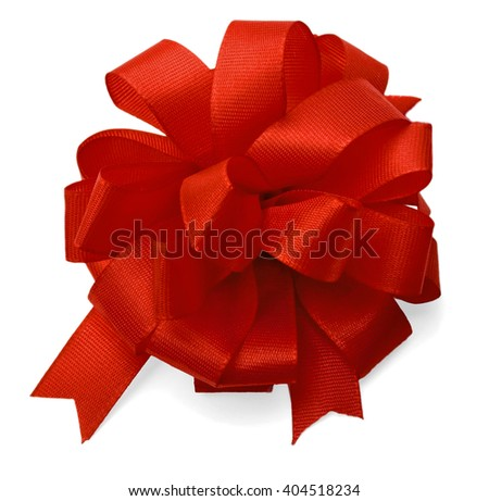 silk red bow isolated on white background.