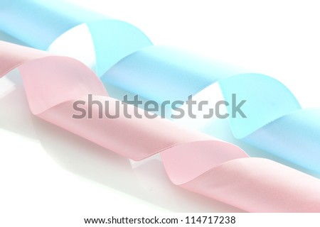 silk ribbons, isolated on white - stock photo
