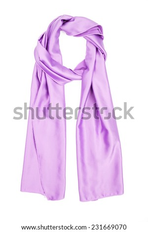 Silk scarf isolated on white background. Female accessory lilac.