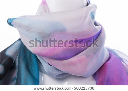 Silk scarf worn on a mannequin. White background / silk scarf worn on a mannequin. White background / Nadale