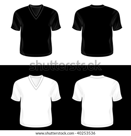 Silkscreen series black white realistic blank stock for White t shirt template front and back