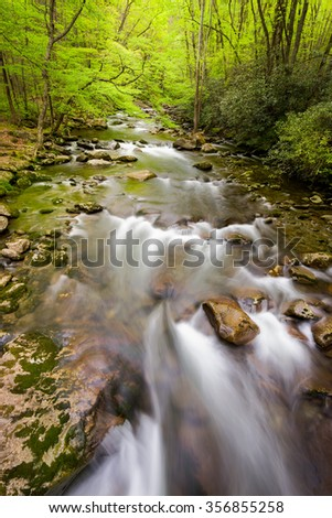 Silky smooth stream in the Smoky Mountains - stock photo