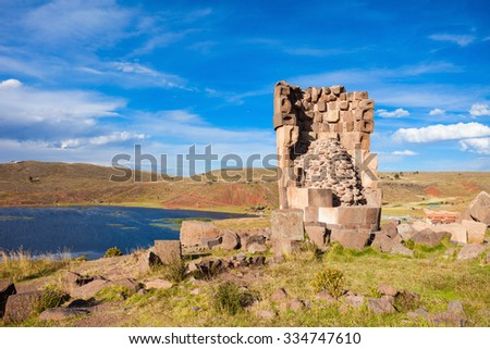 Sillustani is a pre-Incan burial ground on the shores of Lake Umayo near Puno in Peru - stock photo