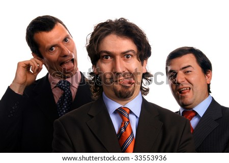 silly and stressed businessteam, isolated on white - stock photo
