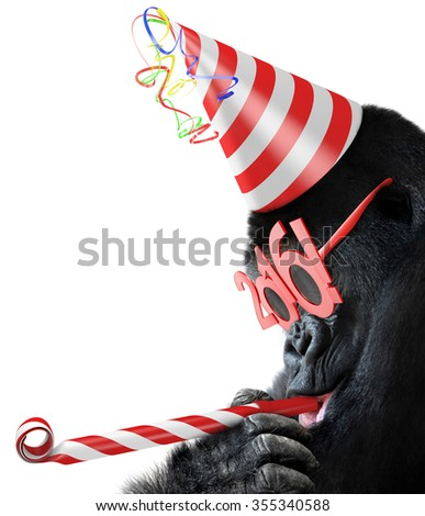 Silly gorilla with cone hat and New Year 2016 glasses blowing a party horn for Chinese Year of the Monkey - stock photo