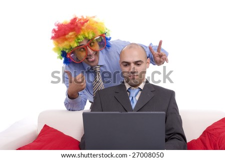 Silly man, making fun of his partner, isolated in white