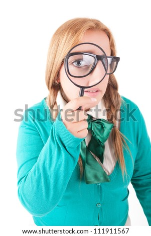 Silly nerd schoolgirl, posing over a white background