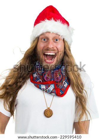 Silly retro hippie Santa yelling Wow isolated on white - stock photo
