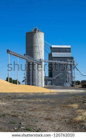 Silo and grain elevator with grain on ground - stock photo