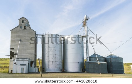 silo in the countryside  on sunny day. - stock photo