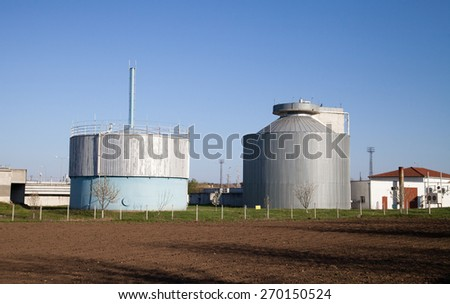 Silos at a waste water treatment plant