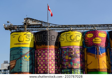 silos for the cement decorated in Vancouver - stock photo