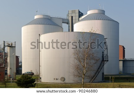 Silos of an industrial plant - stock photo