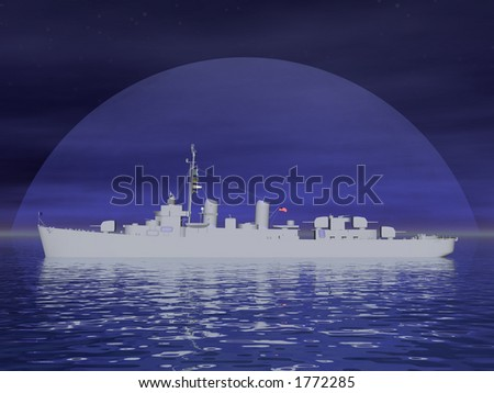 Silouette of a battleship at sea - stock photo
