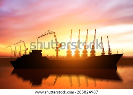 Silouette of seaport in sunset ,Logistic concept
