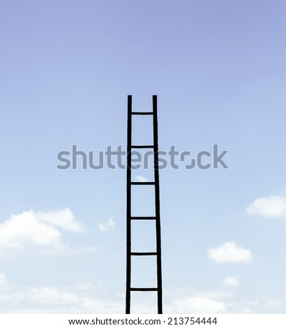 Siluate ladder to the sky - stock photo