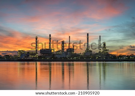 Siluate Refinery across the chao phraya river at sunrise in Bangkok Thailand