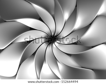 Silver abstract luxury flower petal background 3d illustration - stock photo
