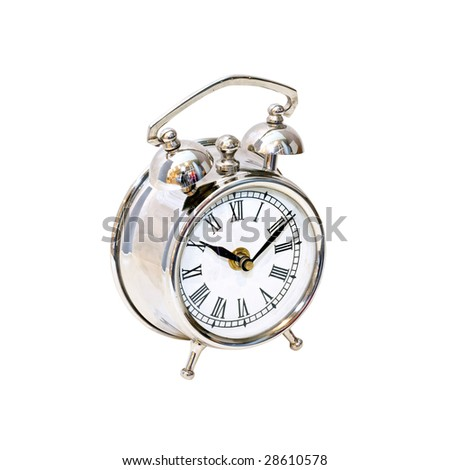 Silver alarm clock isolated included clipping path
