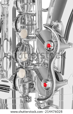 silver alto saxophone elements closeup