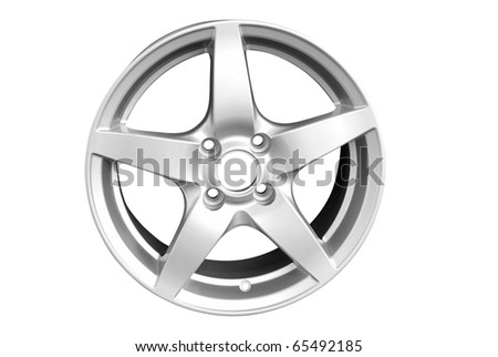 silver aluminum wheel rim isolated