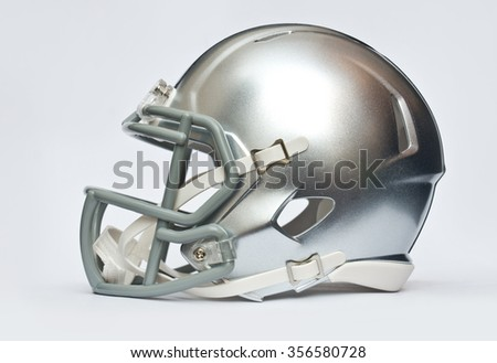 Silver american football helmet isolated on white background - stock photo
