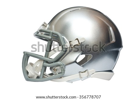 Silver american football helmet isolated on white background with clipping path