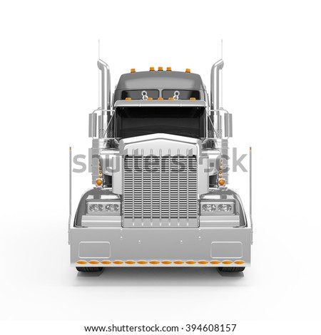 Silver american truck front view isolated on white background