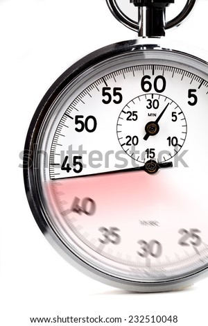 Silver analog stopwatch with motion on the dial isolated on white - stock photo